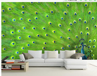 Wholesale Peacock Wallpaper Sticker - Customize wallpaper papel de parede Peacock feather decorative painting wall sticker 3d wallpaper Free shipping6987