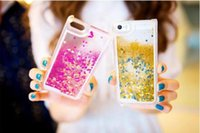 Wholesale Cover Iphone4s - Floating glitter Star Running Liquid Dynamic Hard Case clear transparent shining Cover For iPhone4s 5s 6 6 plus Samsung S5 S6 Note 4 DHL