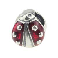 Wholesale Ladybug Silver Charm - Beads Hunter Jewelry Authentic 925 Sterling Silver Backyard Garden Ladybug charm 4.5mm big hole bead For 3mm European Bracelet snake chain