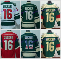 Wholesale Can Tops - Top Quality Mens Minnesota Wild Jerseys #16 Jason Zucker Ice Hockey Jersey,Size M-XXXL,Embroidery Logo Can Mix Order