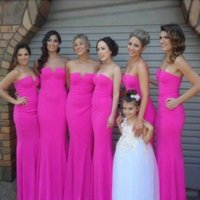 Wholesale wedding dresses out trains for sale - 2018 Simple Elegant Pink Bridesmaid Dresses Hot V Neck Strapless Mermaid Hollow Out Floor Length Maid Of Honor Wedding Party Guest Wear