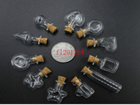Wholesale mini handmade glass bottles - 500pcs lot DHL FEDEX Free Shipping 2ML Mini Unique Shaped Glass bottle 2cc Handmade Glass Bottles Vials Jars Containers