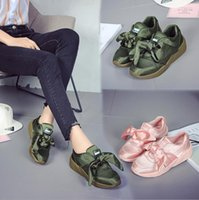 Wholesale Pink Ribbon Shoes - hot sell popular Bow Tie Suede Basket Heart Women pink bowknot Board shoes Ladies silk ribbon Bow Rihanna Casual Shoes High Quality 8 color