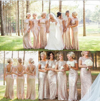 Wholesale Chiffon Sweetheart Bling Long Dress - Cheap Bling Gold Sequin Maid of Honor Dresses Long Bridesmaid Dresses Gown 2015 Short Sleeves Backless Wedding Party Dresses under 50$