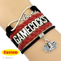 Wholesale Ncaa Wholesalers - Wholesale-(10 Pieces Lot) Infinity Love NCAA South Carolina Gamecocks Bracelet Garnet Black Custom Sports Cheer Bracelets - Drop Shipping