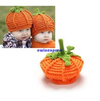 Wholesale Halloween Pumkin - Cute Pumkin baby hats caps Infant Toddler winter Crochet hats Beanie Handmade Knitted Hat children boy girl photography props Halloween gift
