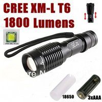Wholesale Holsters For Torches - Smiling Shark SS-E7 CREE XM-L T6 1800Lumens cree led Flashlight Torch light For 3xAAA   1x18650 + flashlight holster - Black