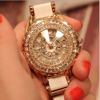 Wholesale Diamante Watches - NEW Fashion High-grade Women Diamond Wristwatches Luxury Ceramic Watch Diamante Ladies Quartz Watches Gold color Free Drop Shipping