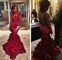 Wholesale Navy Blue Romantic Evening Dress - 2016 Romantic Red Evening Dress Mermaid With Rose Floral Ruffles Sheer Prom Gown With Applique Long Sleeve Sweep Train Prom Dresses