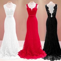 Scoop Neck Lace Mermaid Lange Prom Kleider Backless Bodenlangen Abend Party Kleider In Rot Schwarz Weiß