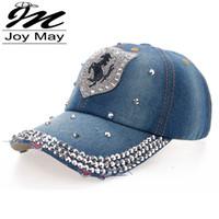 Wholesale Jean Hats Wholesale - Wholesale-High quality Wholesale Retail JoyMay Hat Cap Fashion Leisure HORSE Rhinestones Vintage Jean Cotton CAPS Baseball Cap B093