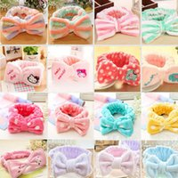 Wholesale Dot Bow Headband - Womens Elastic Hair Coral Velvet Big Bow Polka Dot Stripe Headbands Bath Wash Face Makeup Band Beauty Shower Hairband Head-Ware