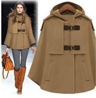 Wholesale Women Winter Coats Uk - Wholesale-UK Brand New Fashion Autumn Winter Brown Navy Cashmere Hooded Cape Coat Nibbuns Women Cloak Casacos Femininos Free shipping