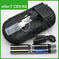 Wholesale Ego Case Needle Bottle - eGo-T CE5 electronic 650mah 900mah 1100mah eGo Double E-cigarette kit Leather case Battery Atomizer long USB cable charger needle bottle DHL
