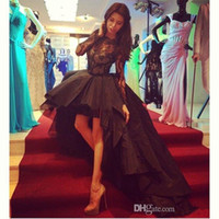 Wholesale Dress Back Appeal - 2015 Prom Dresses Hi-lo Special Occasion Appealing Black A-line Taffeta Short Front Long Back Lace Sheer Long Sleeve Party Gowns