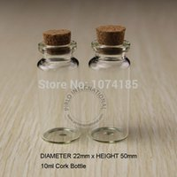 Wholesale Tiny Glass Jar Pendant - 50pcs 10ml Small Glass Bottles Vials Jars With Cork Corks Stopper Decorative Corked Tiny mini Wising Glass Bottle For Pendants