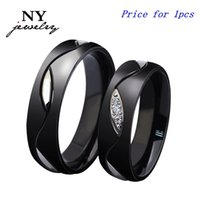 Wholesale Shiny Black Stone - fashion stainless steel couple rings for women men with imitation diamond black ring punk jewelry crystal shiny lover rings