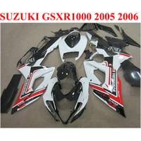 gsxr k5 fairings kırmızı toptan satış-SUZUKI GSXR1000 05 06 vücut kitleri için ABS motosiklet kaportalar K5 K6 GSXR 1000 2005 2006 kırmızı beyaz siyah kaporta kiti E1F9