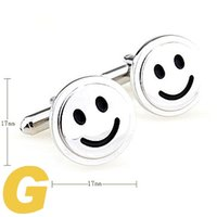 Wholesale Smile Cufflinks - High Quality New Classic Silver Copper Mens Wedding Cufflinks Novelty Rare Fancy Smile Face & Clean Cloth 210039