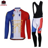 Wholesale Cashmere Long Underwear Men - Winter Men Paris, France Thermal Fleece Base Layer Compressed Underwear Bike Cycling Jersey Long Sleeve Bicycle Jersey Set Clothing Maillot