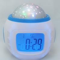 Wholesale Digital Led Projector Clock - Free DHL Music Starry Star Sky Digital Led Projection Projector Alarm Clock Calendar Thermometer horloge reloj despertador