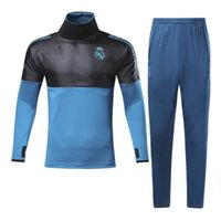 Wholesale Men S White Turtleneck - 1718 Real Madrid Champions League edition football training set Cristiano Ronaldo and Karim Benzema blue turtleneck long sleeved Soccer Jers