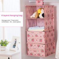 Wholesale Drawer Closet Organizer - Collapsible multi-storey closet storage bag, increase thick waterproof hanging finishing storage box, with 2 drawer storage box.