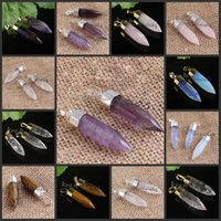 Wholesale Silver Angle Charms - wholesale 10 Pcs Silver Gold Plated Natural mixture stone six Angle cut noodles Pendant, Druzy Gem Stone Pendant Charms Jewelry