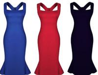 bestellen verkauf kleidung großhandel-Frauen rüschen rückenfreies Meerjungfraukleid reizvolle Mädchen-Damen kleiden Abendkleider, 2015 heiße Verkaufsmischungsbestellungsblau-Rotschwarzes