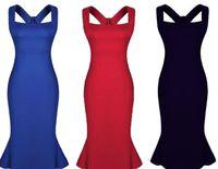 ingrosso ordine vendita abbigliamento-Le donne increspano il vestito a sirena senza schienale Le ragazze sexy vestono i vestiti di sera, le vendite calde 2015 mescolano l'ordine blu rosso nero