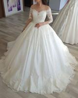 Wholesale boat neckline sleeves wedding dresses online - 2018 Vinatage Ball Gown Lace Wedding Dresses Sheer Illusion Back Boat Neckline Long Sleeve Bride Formal Dresses