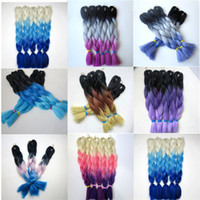 Wholesale blonde ombre crochet hair for sale - Group buy Kanekalon Synthetic Braiding Hair g inch Blonde Pink Purple Ombre Three Tone Colored Crochet Jumbo Braid Hair Extensions