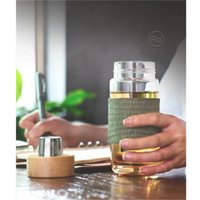 Wholesale Office Hand Warmer - European Style 400ML Glass Water Bottle With Tea Infuser Strainer Heat Resistant Travel Car Office Drinking Bottles Teacups