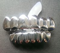All'ingrosso-Libero REALE LUCIDO !! Shiny Silver PLACCATO HIPHOP DENTI GRILLZ SUPERIORE INFERIORE GRIGLIA SET