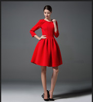 online shopping Mini Dress for Spring - New Spring Autumn European Simple Dress Three Quarter Sleeve Lady's Elegant Causal Dress OL Party Dresses For Women Red Black