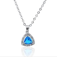 Wholesale Gift Jewlery - Classic blue Pendant Necklace Luxurious bright zircon Crystal Jewlery Copper Material Necklace For Women Best Gift Jewelry 1404