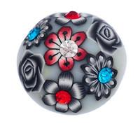 argila de flor branca venda por atacado-# 35 cinza branco com preto padrão de flor vermelha e broca de argila cerca de 5.5mmDIY botões redondos 18mm personalidade snap botão botão giner diy