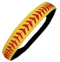 "Wholesale Yellow Leather Softball Headbands - 5 Pieces Softball Leather Stitches Seamed Headbands Fabulicious Softball Leather Headband Sports Yellow Red Baseball 3 4"" Headband"
