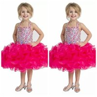 Halter Fuchsia Kids Special Occasion Pageant Cupcake Dresses Вышитые бисером Кристалл с шариками с шариками