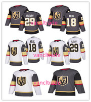 Wholesale Sports Style Men - 2017-18 New Style Vegas Golden Knights 18 James Neal 29 Marc-Andre Fleury Ice Hockey Jerseys Fleury Sports Uniforms Team Gray Road White