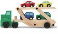 Wholesale Double Men Toys - 2015 Double Deck Carrier Loader Wooden 4 Small Cars Set Children Boys Man Model Toys Gifts Diecast Cars Model Vehicle Car sets D3635