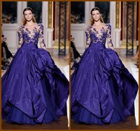 Wholesale Zuhair Murad Designs - Fashion Sexy Sweep Train Ruffle Sash Bateau Neck Illusion Long Sleeve Evening Dresses Blue Lace Applique 2015 Zuhair Murad Dress new design