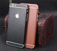 Wholesale Iphone Back Decal - For iphone6 6S plus iphone7 Imitate leather grain design Full Body Stickers Front + Back Protector Decal for iphone5S SE 5C Samsung S7 edge