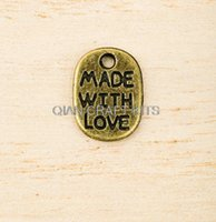 Wholesale Antiqued Chain Wholesale - Set of 200pcs saying 'Made with Love' Zinc Alloy antiqued bronze Tone Charms pendants 11mmx8mm