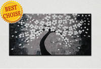 Wholesale Gray Canvas Painting - free shipping black gray oil painting on canvas handpainted black gray tree painting single modern Home Wall painting Art Decor