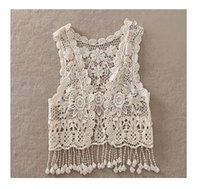 Wholesale Crochet Vest For Girls - Sexy Beach Embroidery Vintage Retro Sweet Cute girls Crochet Floral Hollow Lace Vest outwear Slim Bohemia Tank Top Blouse For Women
