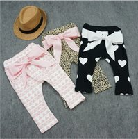 Wholesale Spring Harem Trousers - Hug Me Baby Pants For Girls Christmas Harem Pants 2015 Autumn Winter Girls Printed Geometrical Leopard Heart Bow Baby PP Pants MC-313