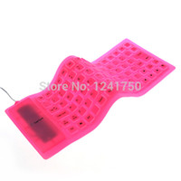 Gros-85-Key USB 2.0 Silicone Pliable PC Computer Wired Keyboard -Pink