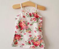 Wholesale retail girl shirt online - Retail sale children T shirt Fashion korean lace iris suspender T shirt tops for girls kids cotton princess tops pink white A5153