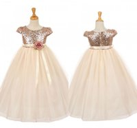Wholesale Girls Rose Pageant Dresses - 2018 Sequin Girls Pageant Dresses Rose God Cap Sleeve Ball Gown Princess Cheap Flower Girls Gowns Wedding Party Wear Dress For Child Teens